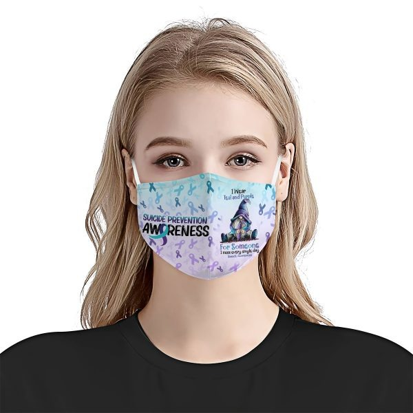 Suicide Awareness I Wear Teal And Purple mask 1