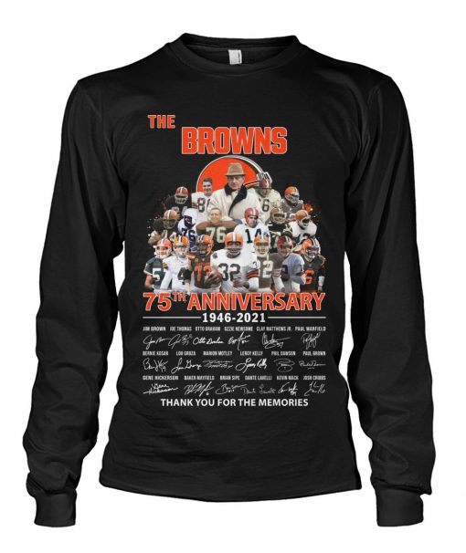 The Cleveland Browns 75th Anniversary signatures Long sleeve