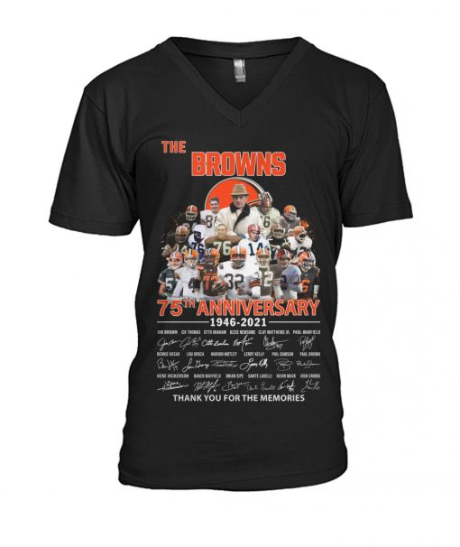 The Cleveland Browns 75th Anniversary signatures V-neck