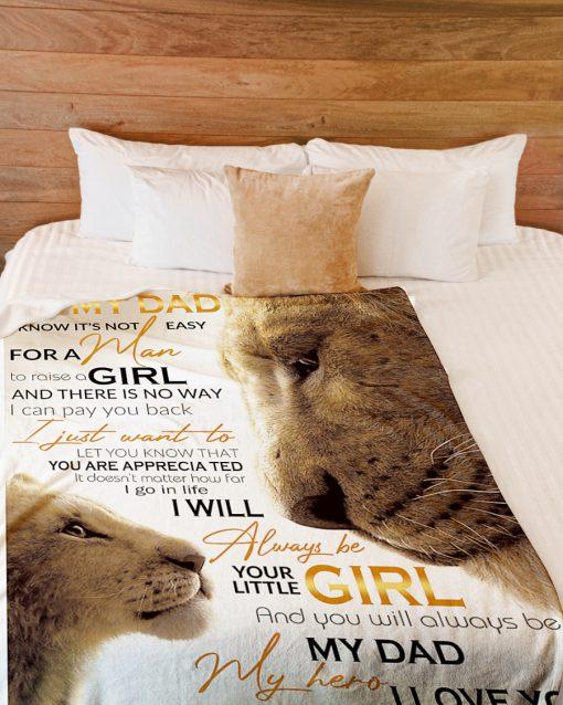 To my dad i know it's not easy for a man to raise a girl Lion King fleece blanket 3