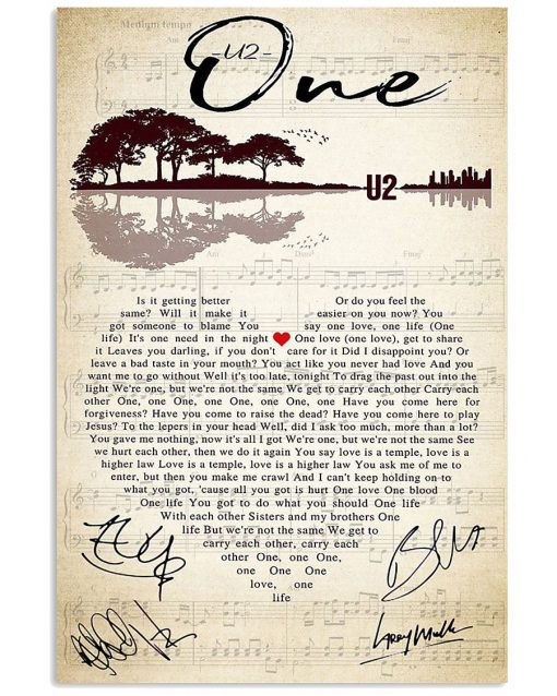 U2 – One Lyrics poster