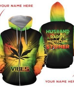 Weed Husband Daddy Protector Stoner 3D hoodie2