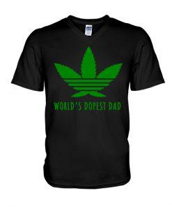 World's Dopest Dad Weed v-neck