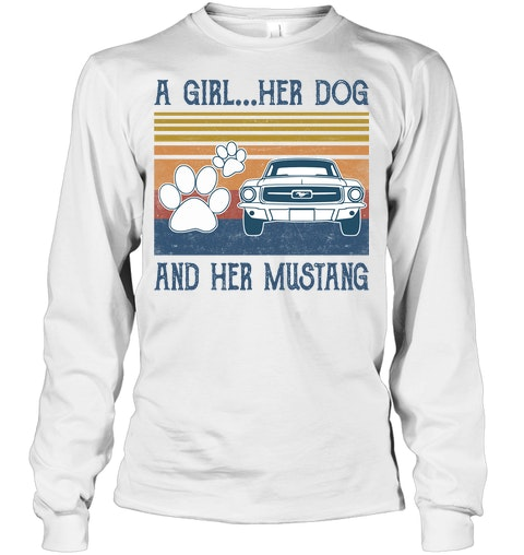 A Girl Her Dog And Her Mustang vintage long sleeevd