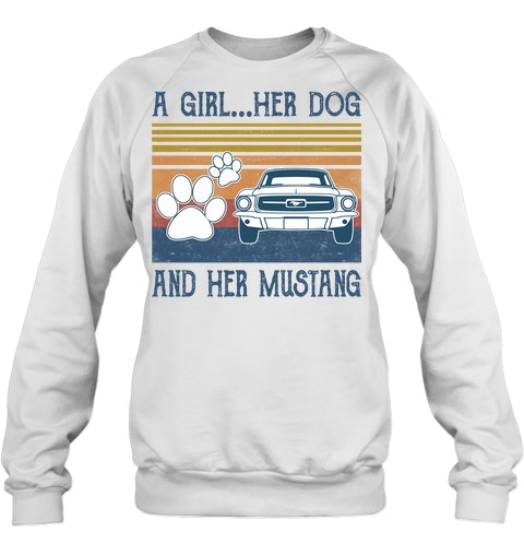 A Girl Her Dog And Her Mustang vintage sweatshirt