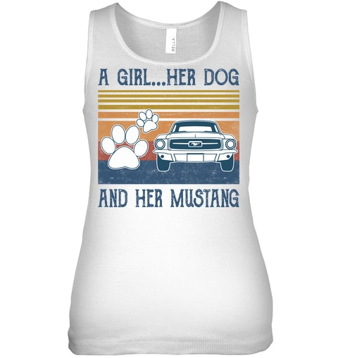 A Girl Her Dog And Her Mustang vintage tank top