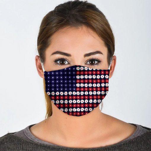 American Flag Flowers cloth mask1