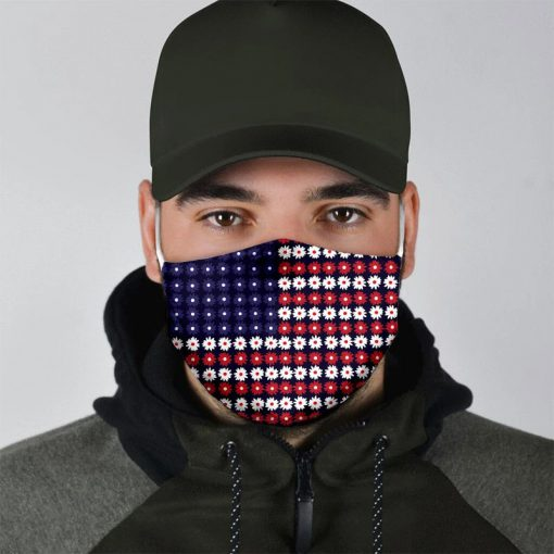 American Flag Flowers cloth mask2