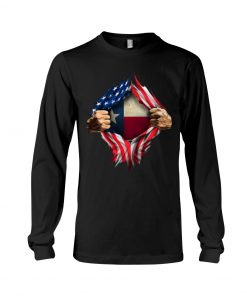 American Flag Texas Proud Inside me long sleeved