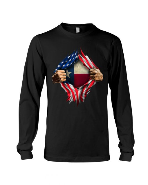 American Flag Texas Proud Inside me long sleeved