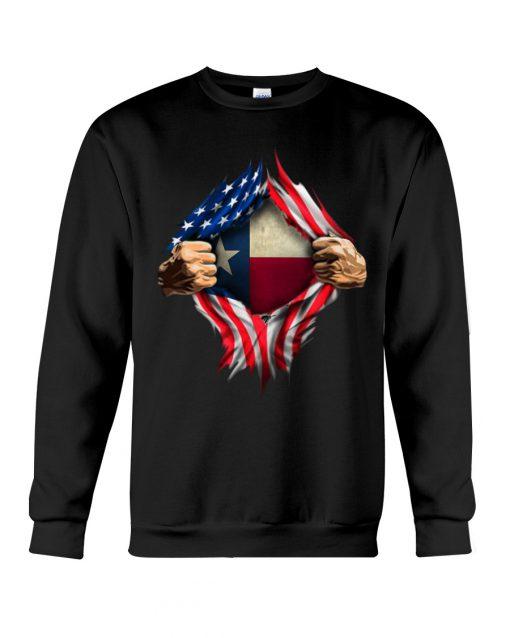 American Flag Texas Proud Inside me sweatshirt
