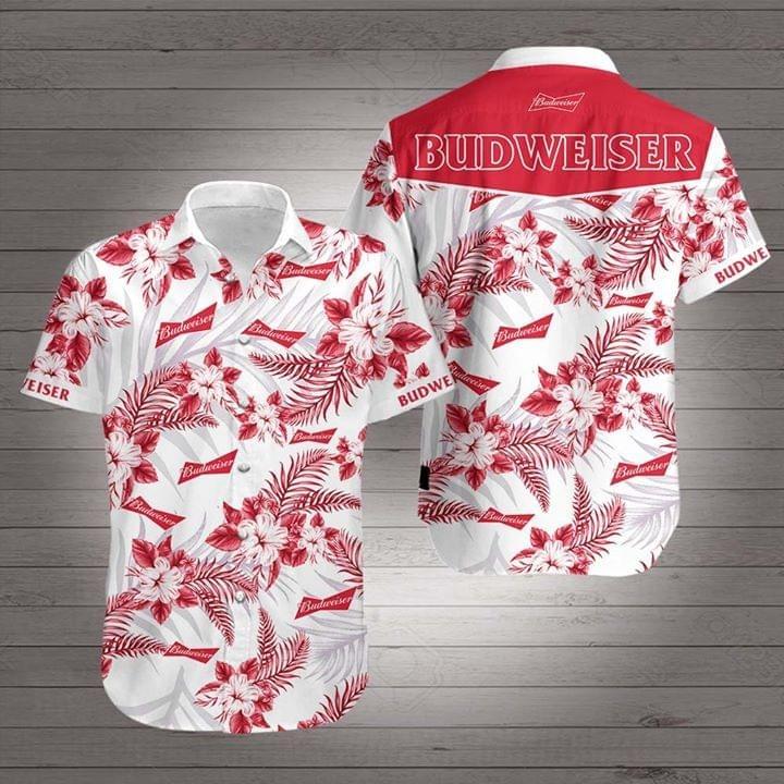 Budweiser tropical flowers Hawaiian shirt