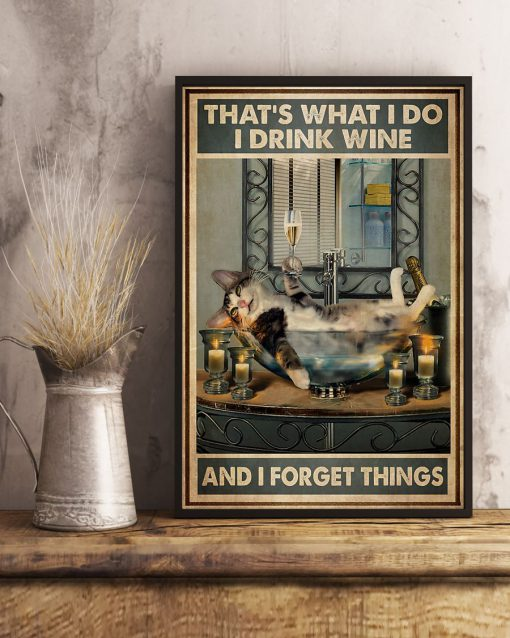Cat That's what I do I drink wine and I forget things poster 4