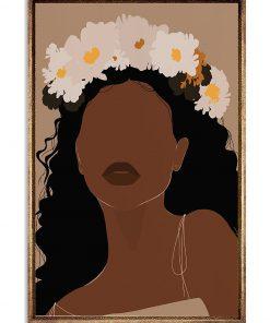 Daisy flower Black Girl portrait poster