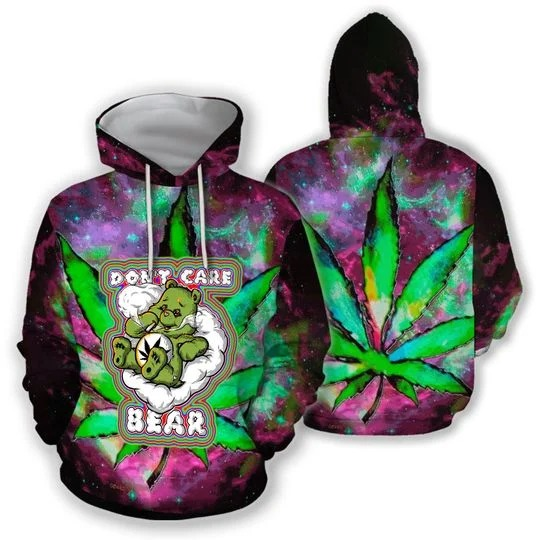 Don't Care Bear Weed 3D hoodie