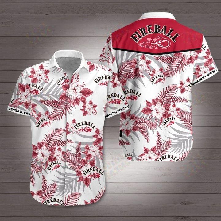 Fireball Cinnamon Whisky Hawaiian shirt