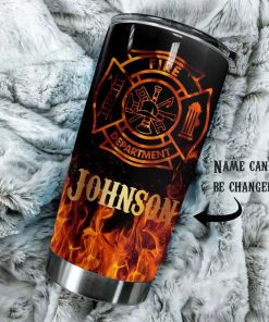 Firefighter Flame Fire Department personalized tumbler 1