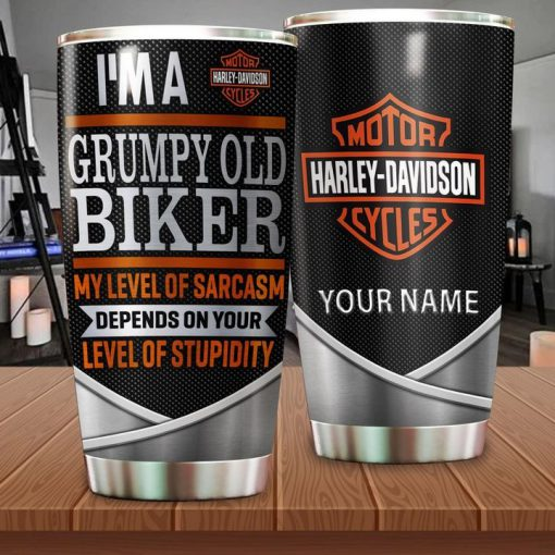 Harley-Davidson I'm a grumpy old biker My level of sarcasm depends on your level of stupidity personalized tumbler
