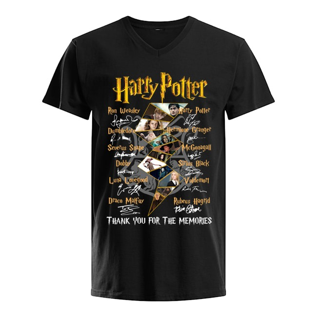 Harry Potter characters signatures Thank you for the memories V-neck