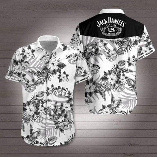 Jack Daniel's tropical flowers Hawaiian Shirt