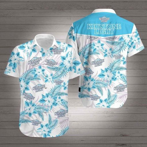 Keystone Light tropical flowers Hawaiian Shirt 0