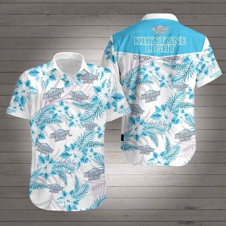Keystone Light tropical flowers Hawaiian Shirt 0