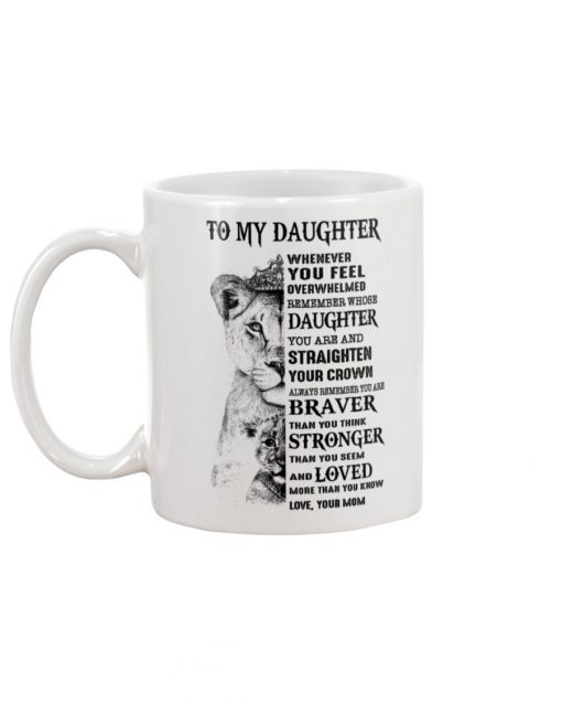 Lion To my daughter whenever you feel overwhelmed remember whose daughter you are mug 1