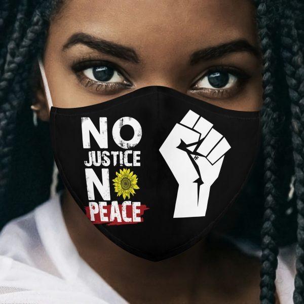 No Justice No Peace Black Lives Matter mask