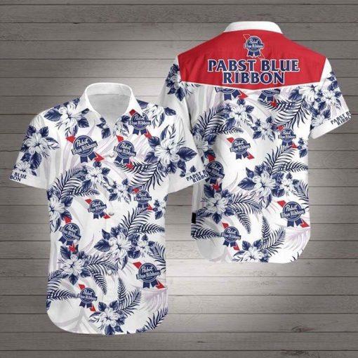 Pabst Blue Ribbon Flower Hawaiian 3D Shirt