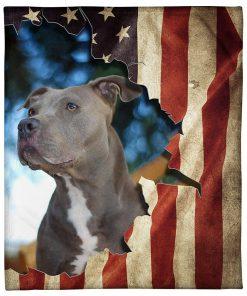 Pitbull American Flag Fleece Blanket
