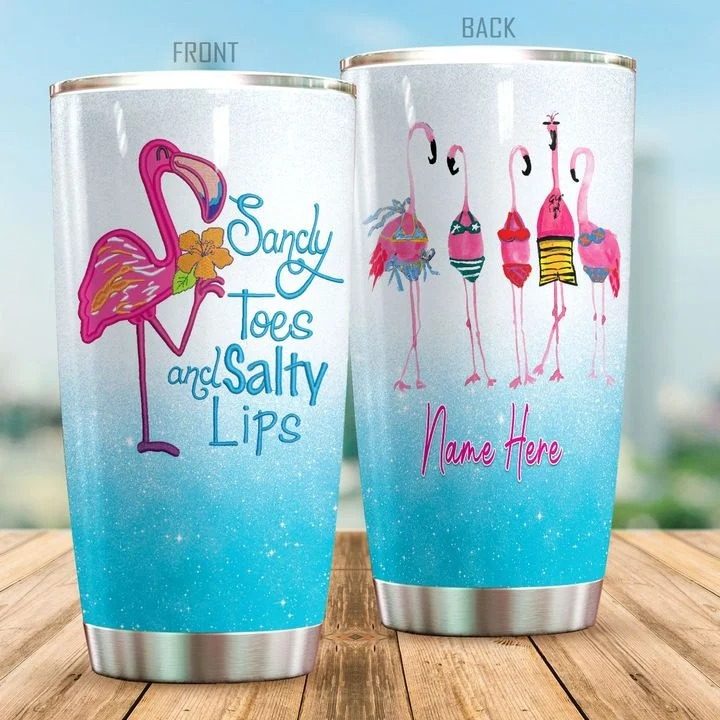 Sandy toes and salty lips flamingo personalized tumbler