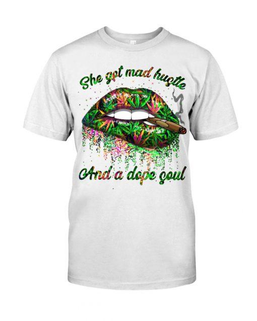 She got mad hustle and pop soul weed glitter lips shirt