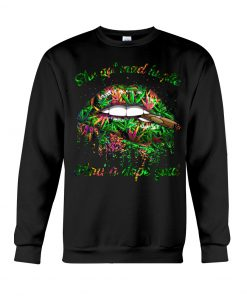 She got mad hustle and pop soul weed glitter lips sweatshirt