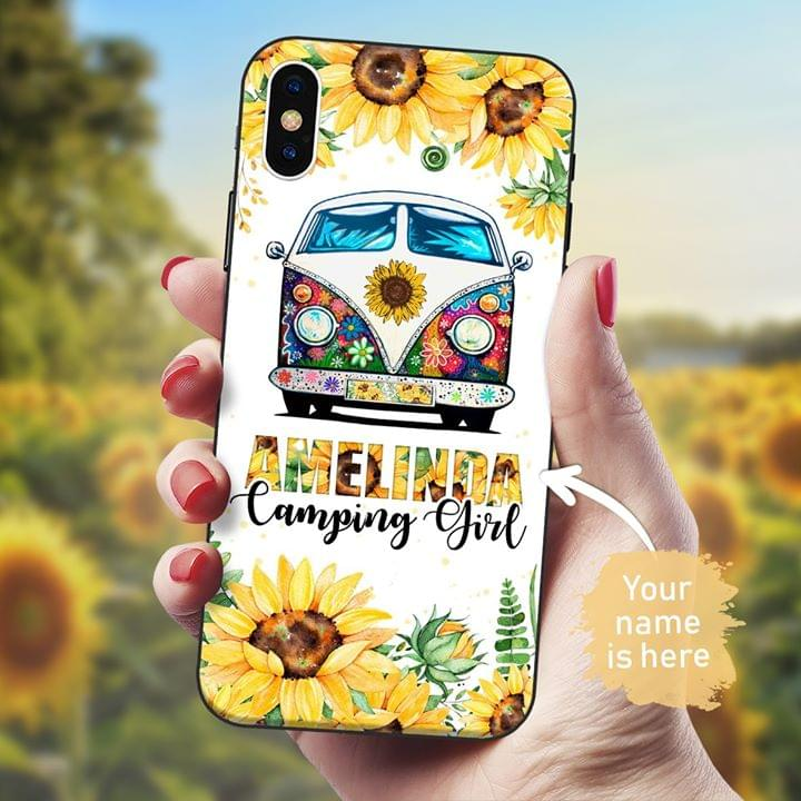 Sunflower Camping Girl personalized phone case
