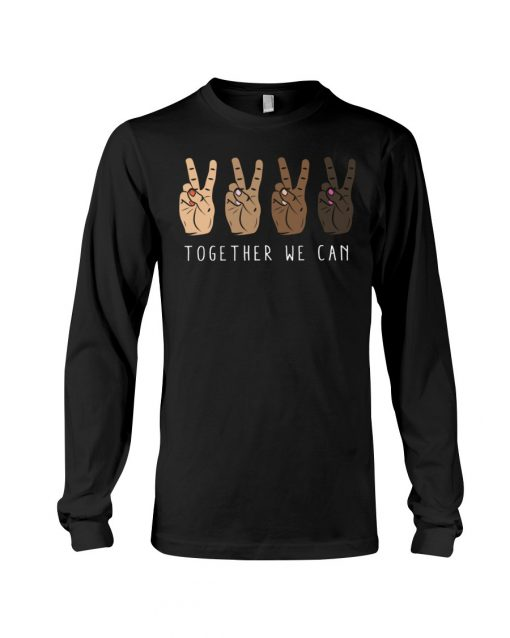 Together We Can Black V sign Long sleeve