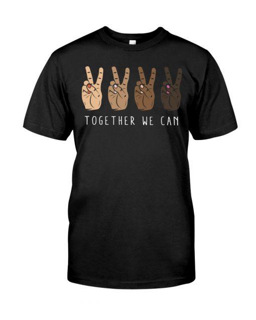 Together We Can Black V sign T-shirt