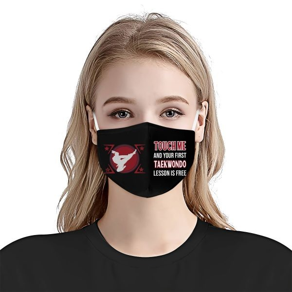 Touch me and your first taekwondo lesson is free face mask 1