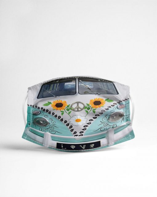 VW Volkswagen Bus Daisy Sunflower Peace cloth mask 1