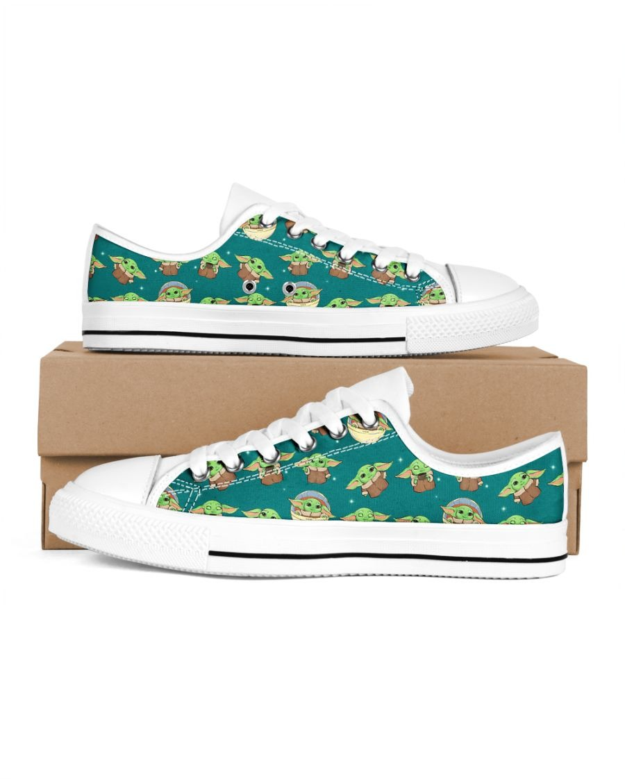 Baby Yoda Pattern Low Top shoes1
