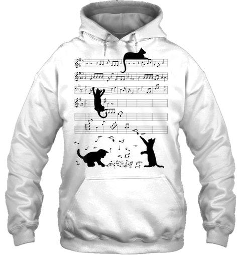 Cat Kitty Playing Music Clef Piano Musician hoodie
