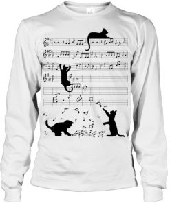 Cat Kitty Playing Music Clef Piano Musician long sleeved