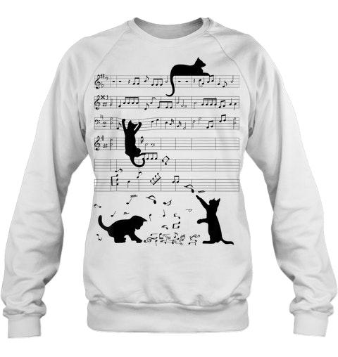 Cat Kitty Playing Music Clef Piano Musician sweatshirt