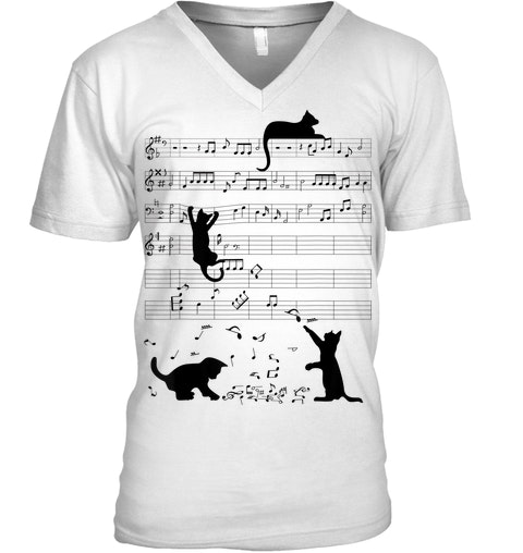Cat Kitty Playing Music Clef Piano Musician v-neck