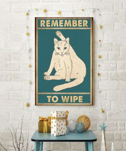 Cat Remember to wipe vintage poster 3
