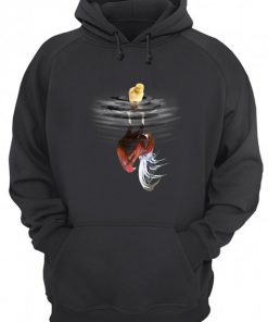 Chicken Rooster Cock Lake reflection hoodie