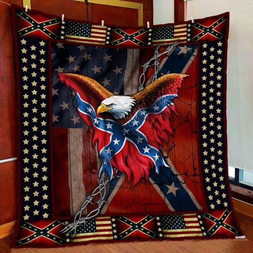 Confederate American Flag Eagle fleece blanket