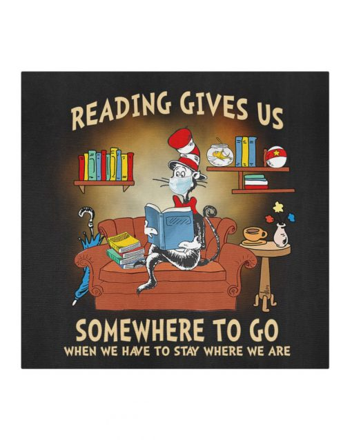 Dr. Seuss Cat Reading gives us somewhere to go when we have to stay where we are face mask1