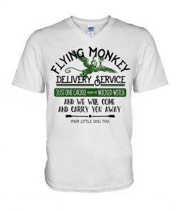 Flying Monkey Delivery Service Just one cackie from wicked witch and we will come and carry you away V-neck
