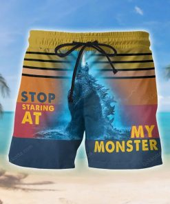 Godzilla Stop staring at my monster beach shorts