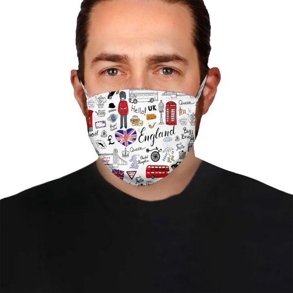 I Love England Doodle face mask1
